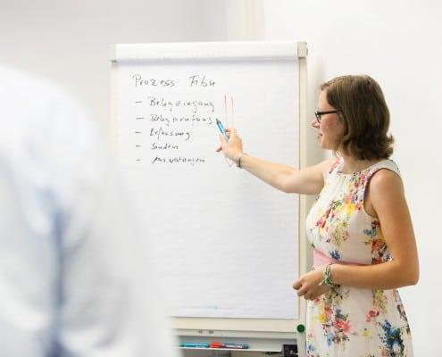 Eine Frau erläutert den Aufschrieb auf einem Flipchart