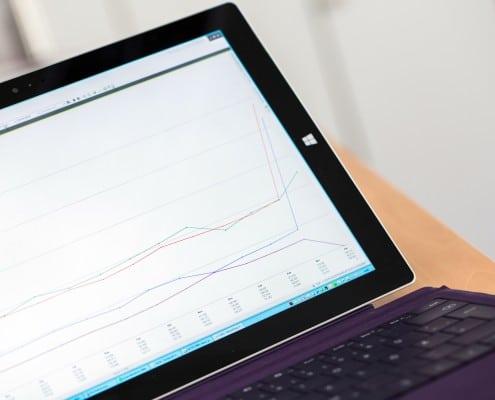 Ein Tablet mit einem Diagramm